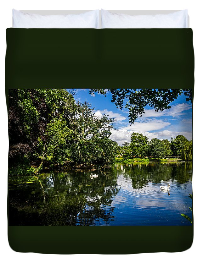 Roath Park Duvet Cover featuring the photograph Roath Park Lake by Mark Llewellyn