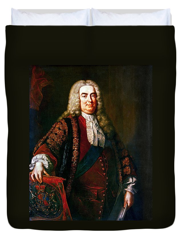 1740 Duvet Cover featuring the painting Robert Walpole (1676-1745) by Granger