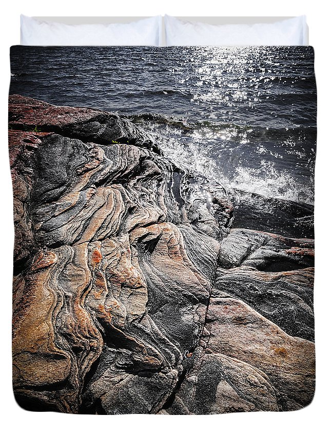 Rocks Duvet Cover featuring the photograph Rock Formations At Georgian Bay by Elena Elisseeva