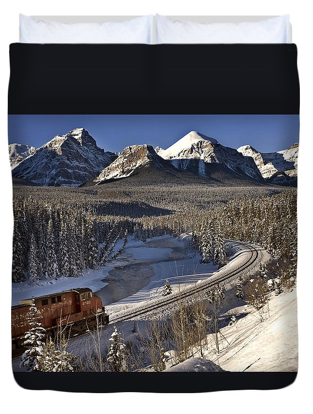 Rocky Duvet Cover featuring the photograph Rocky Mountains In Winter by Mark Duffy