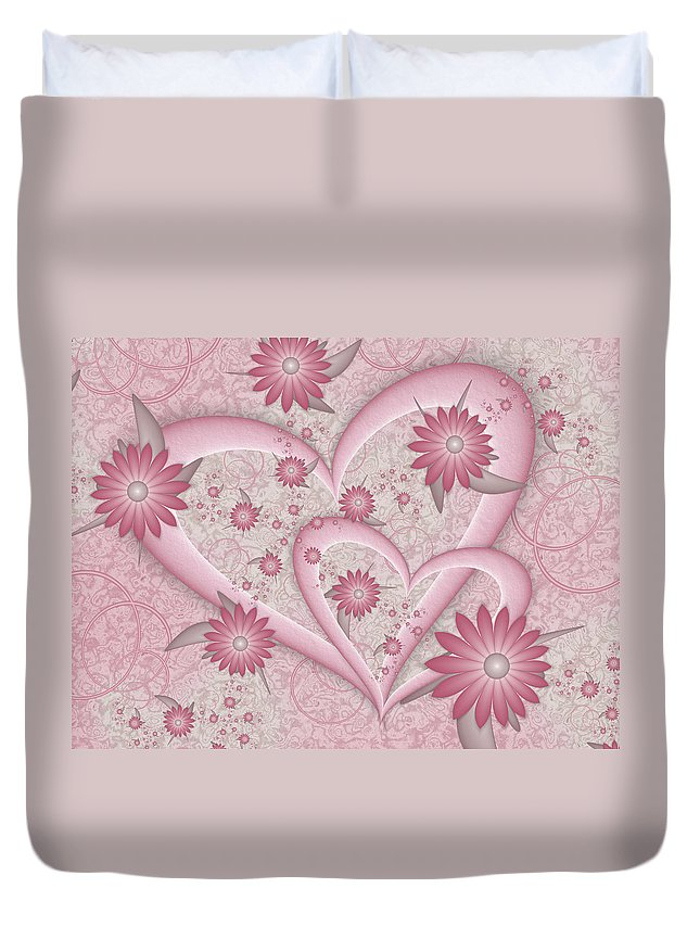 Fractal Duvet Cover featuring the digital art Romance by Gabiw Art