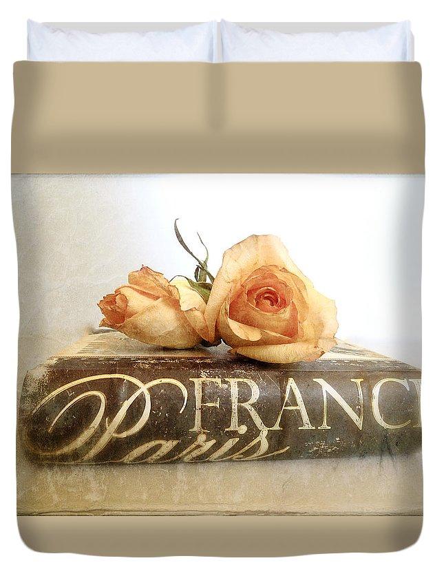 Paris Duvet Cover featuring the photograph Paris Romantic by Angie Mahoney