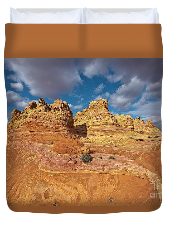 00559264 Duvet Cover featuring the photograph Sandstone Vermillion Cliffs N by Yva Momatiuk John Eastcott