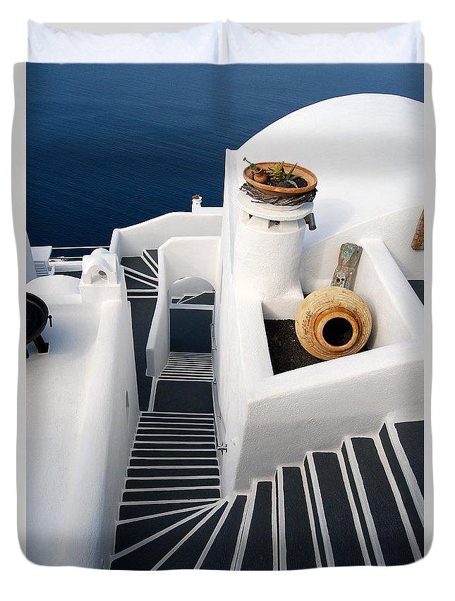 Mug Duvet Cover featuring the photograph Santorini Steps by Eva Kaufman