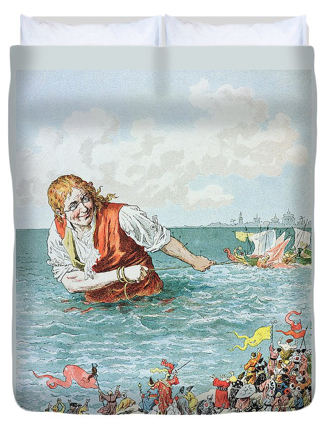 'gulliver's Travels' Duvet Cover featuring the painting Scene From Gullivers Travels by Frederic Lix
