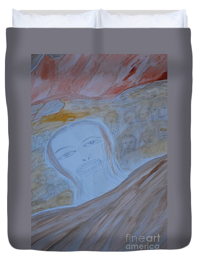 A Sea Of Faces Behind A Very Pronounced Spiritual Face. Duvet Cover featuring the painting Sea Of Faces by Douglas Friedman