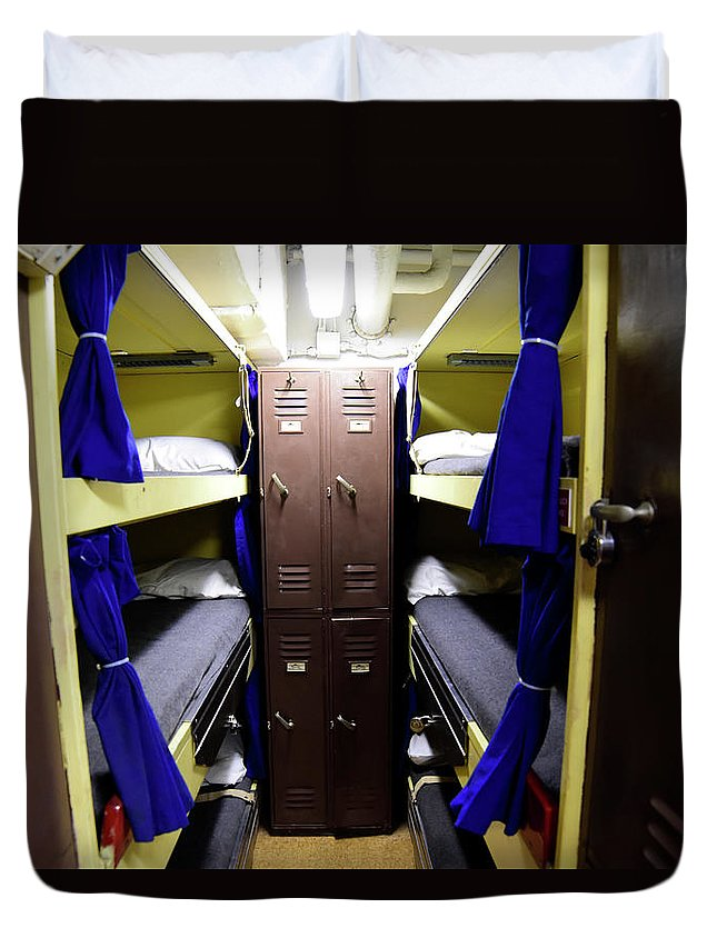 Horizontal Duvet Cover featuring the photograph Seaman Lockers And Bunks Aboard Uss by Stocktrek Images