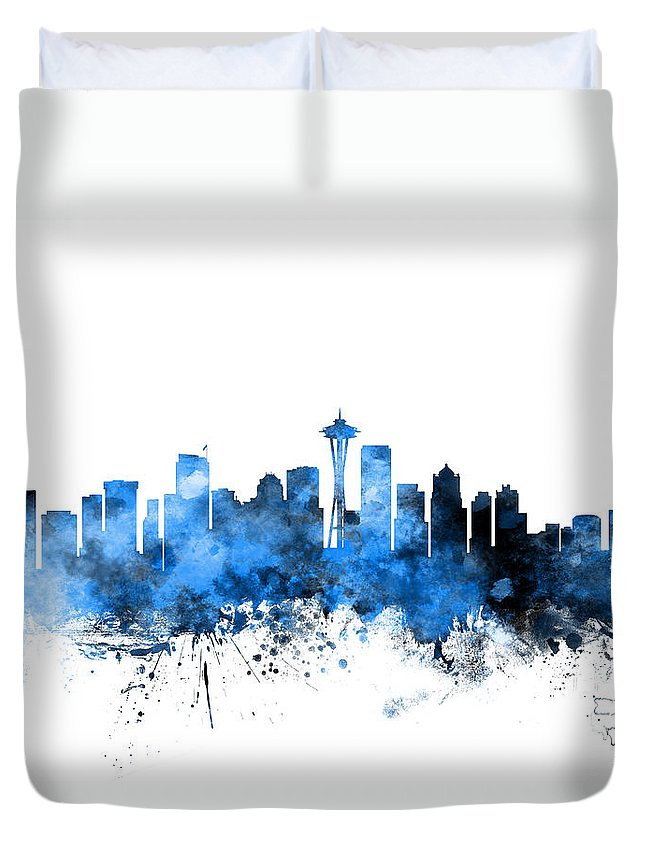 United States Duvet Cover featuring the digital art Seattle Washington Skyline by Michael Tompsett