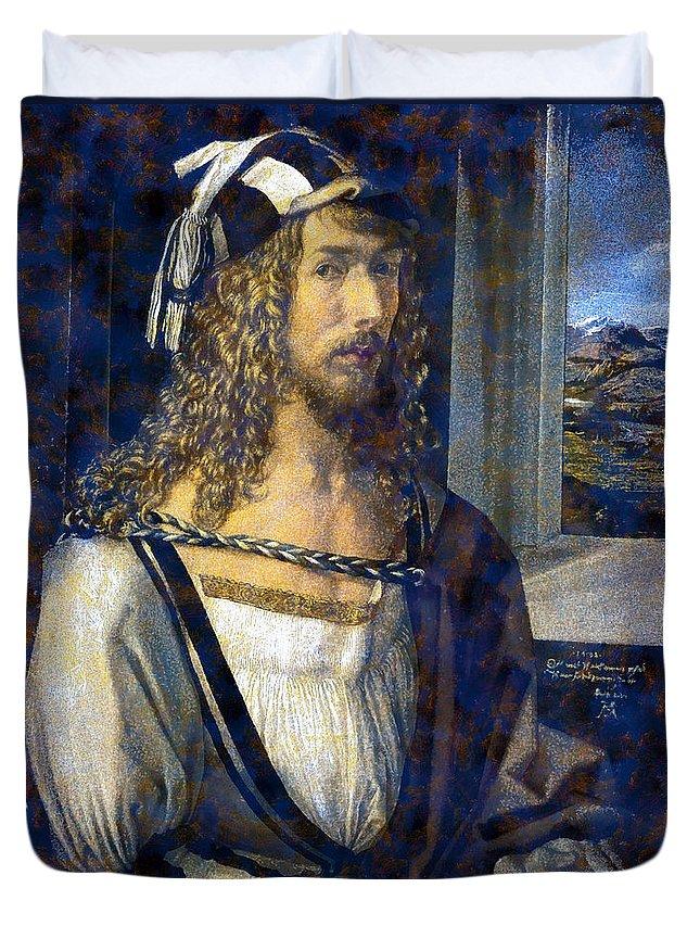 Albrecht Durer Duvet Cover featuring the digital art Self Portrait by Albrecht Durer