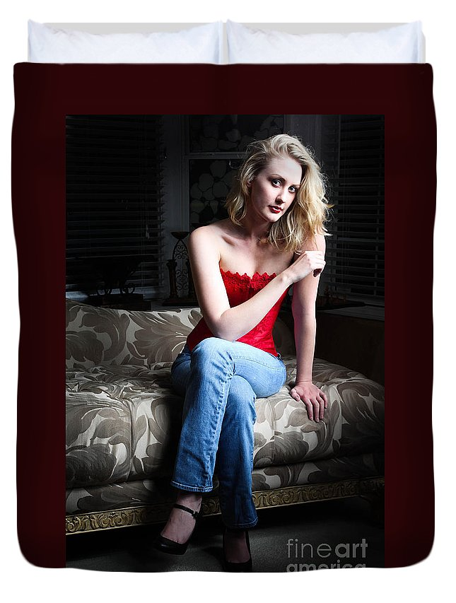 Red Duvet Cover featuring the photograph Sexy Blond Sitting by Henrik Lehnerer