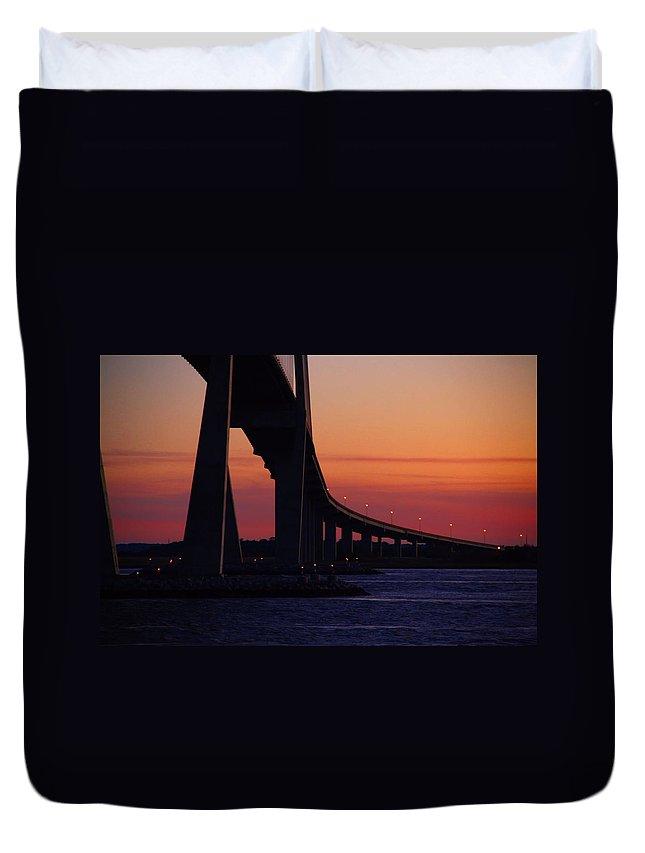 Bridge Duvet Cover featuring the photograph Sidney Lanier Bridge At Sunset by Kathryn Meyer