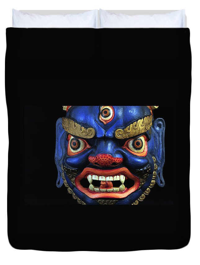 Colorful Duvet Cover featuring the photograph Sikkim Dance Mask, India by Theodore Clutter