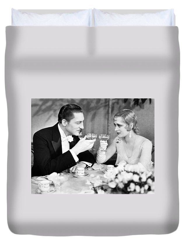 1920s Duvet Cover featuring the photograph Silent Film Still: Drinking by Granger