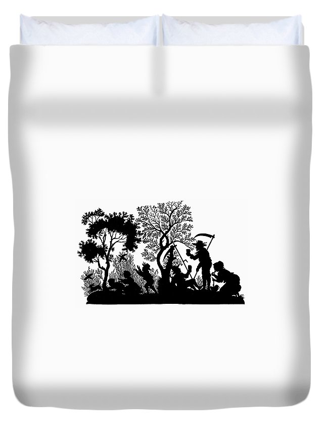 19th Century Duvet Cover featuring the painting Silhouette Daily Life by Granger