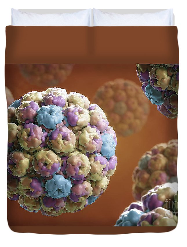 Digitally Generated Image Duvet Cover featuring the photograph Simian Immunodeficiency Virus by Science Picture Co