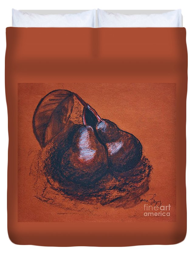Charcoal Duvet Cover featuring the drawing Simply Pears by Marcia Breznay