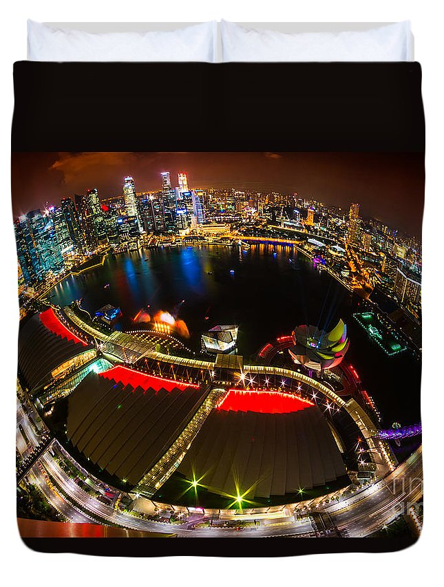 Night Duvet Cover featuring the photograph Singapore City Skyline by Luciano Mortula