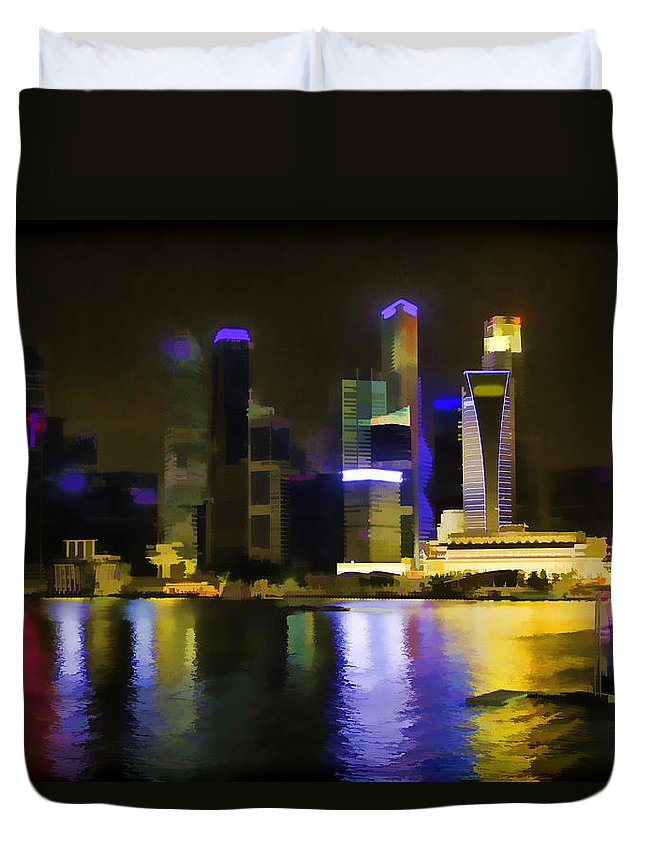 Action Duvet Cover featuring the photograph Singapore Skyline As Seen From The Pedestrian Bridge by Ashish Agarwal