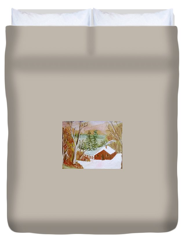 Acrylic On Canvas Duvet Cover featuring the painting Ski Cabin by Aat Kuijpers