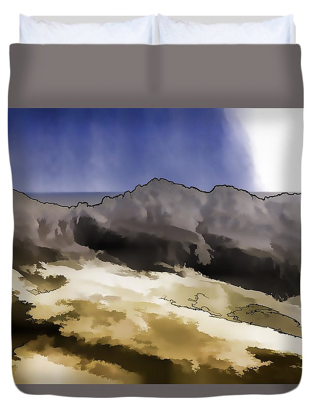 Blue Sky Duvet Cover featuring the photograph Slope Of Hills In The Scottish Highlands by Ashish Agarwal