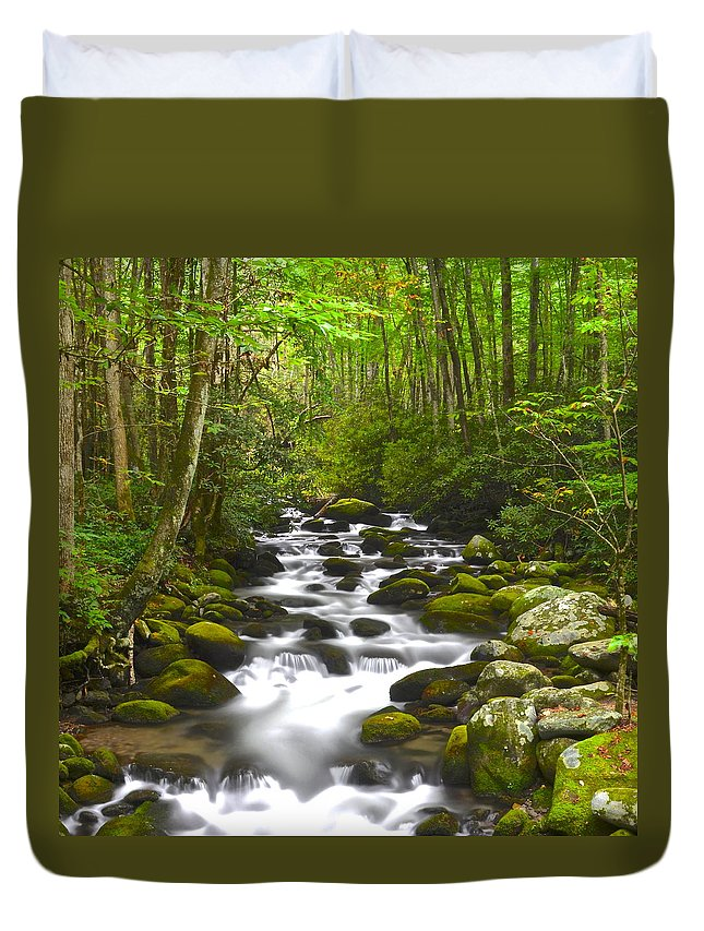 Square Duvet Cover featuring the photograph Smoky Mountain Stream by Frozen in Time Fine Art Photography