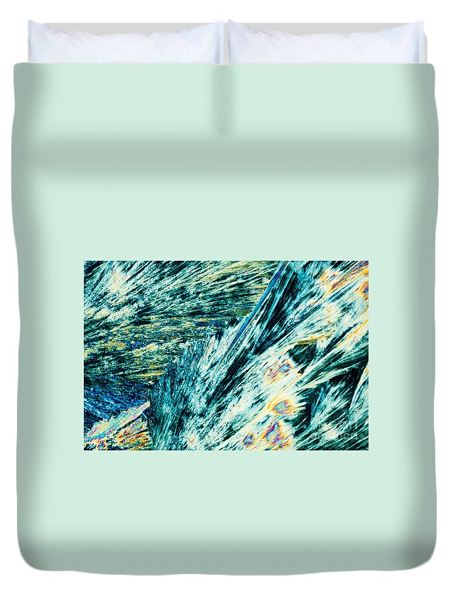 Background Duvet Cover featuring the photograph Sodium Thiosulphate Crystals In Polarized Light by Stephan Pietzko