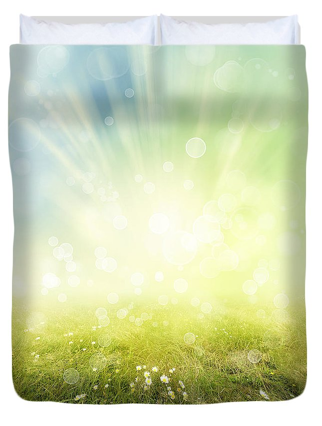 Abstract Duvet Cover featuring the photograph Spring by Les Cunliffe