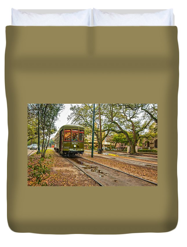 Nola Duvet Cover featuring the photograph St. Charles Streetcar by Steve Harrington