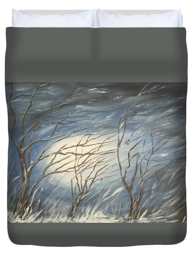 Winter Duvet Cover featuring the painting Storm by Irina Astley