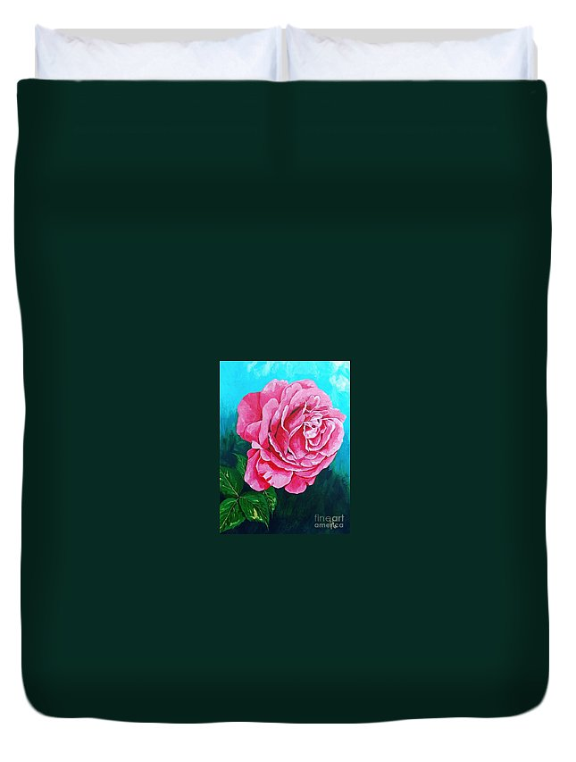 Red Rose Pink Rose Duvet Cover featuring the painting Summer Rose by Herschel Fall