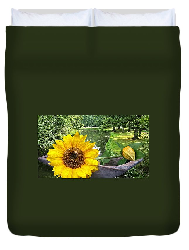 Sun Duvet Cover featuring the photograph Sunflower by Manfred Lutzius