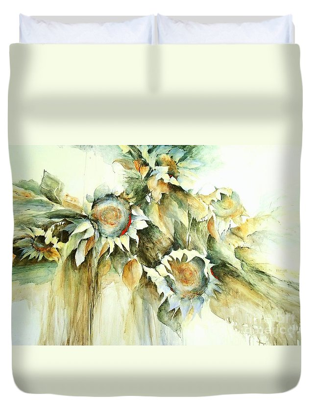 Sunflower Painting Duvet Cover featuring the painting Sunflowers V by Madeleine Holzberg