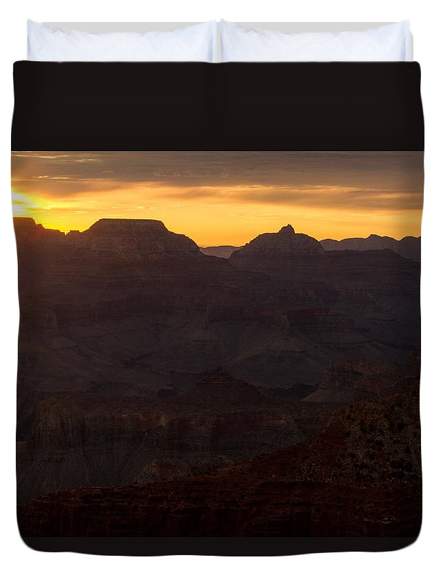 Gsunrise Duvet Cover featuring the photograph Sunrise At The Grand Canyon by Kathleen Odenthal