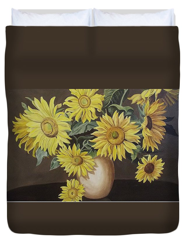 Flowers Duvet Cover featuring the painting Sunshine And Sunflowers by Wanda Dansereau