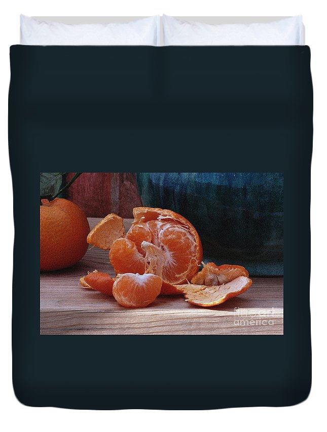 Tangerine Duvet Cover featuring the photograph Tangerines by Luv Photography