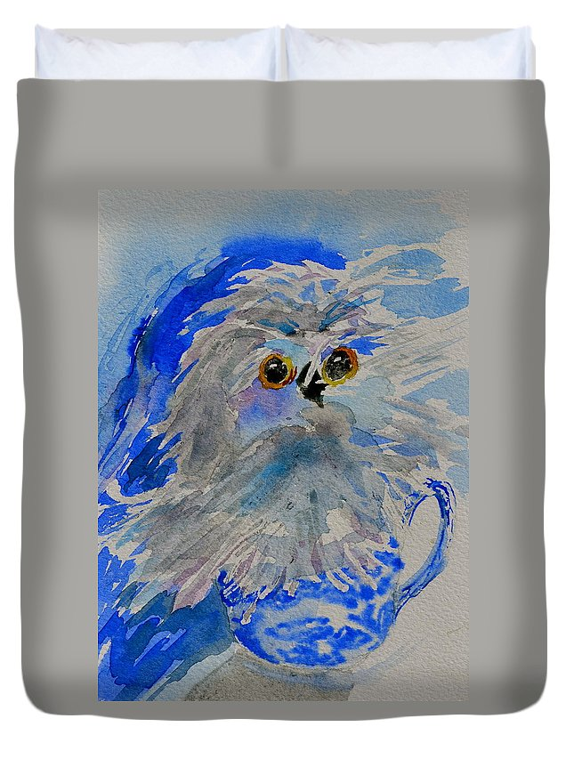 Owl Duvet Cover featuring the painting Teacup Owl by Beverley Harper Tinsley