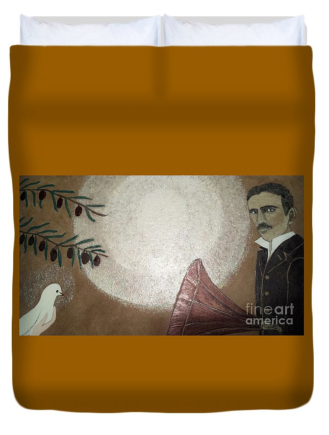 Tesla Painting Duvet Cover featuring the painting Tesla And White Dove by Jasna Gopic