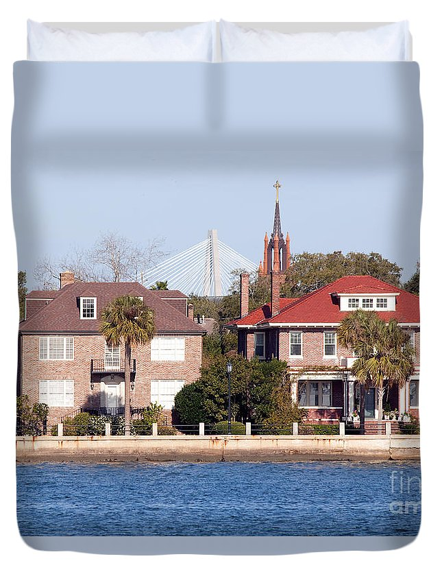 Charleston Duvet Cover featuring the photograph The Battery by Bill Cobb