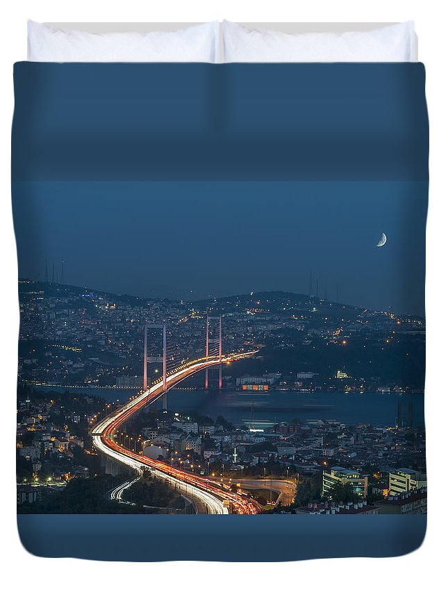 Built Structure Duvet Cover featuring the photograph The Bosphorus Bridge by Ayhan Altun