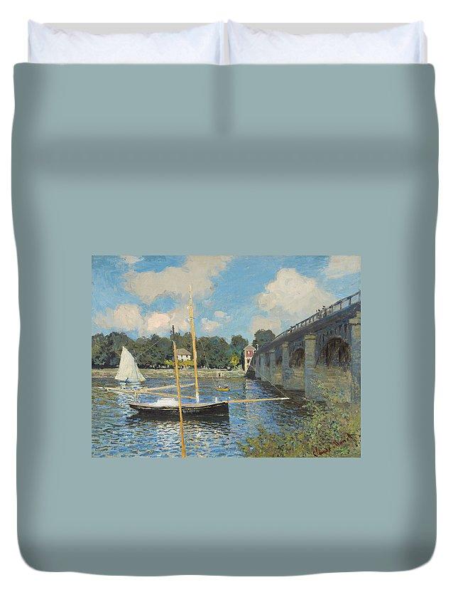 Claude Monet Duvet Cover featuring the painting The Bridge At Argenteuil by Claude Monet