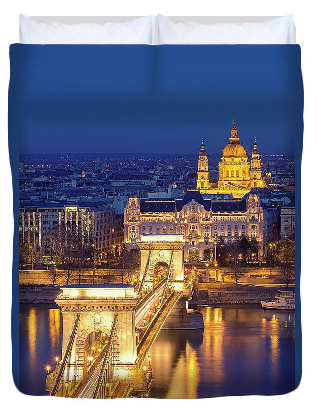Viewpoint Duvet Cover featuring the photograph The Chain Bridge In Budapest by Ultraforma