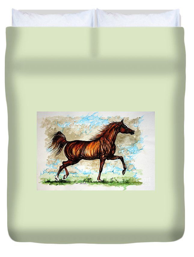 Horse Duvet Cover featuring the painting The Chestnut Arabian Horse by Angel Ciesniarska