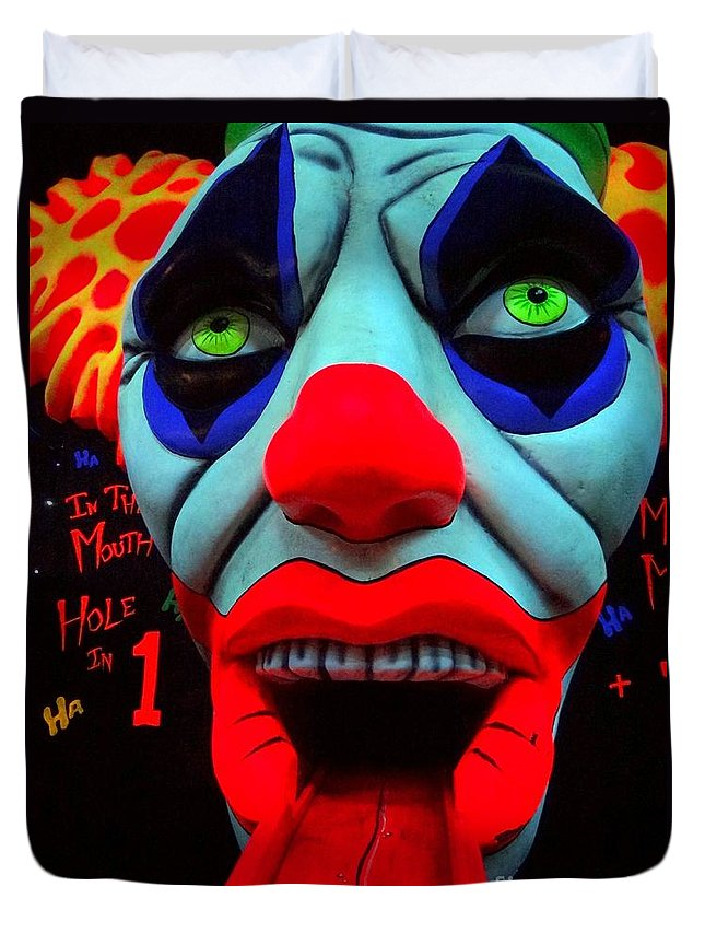 Clowns Duvet Cover featuring the photograph The Clown by Ed Weidman
