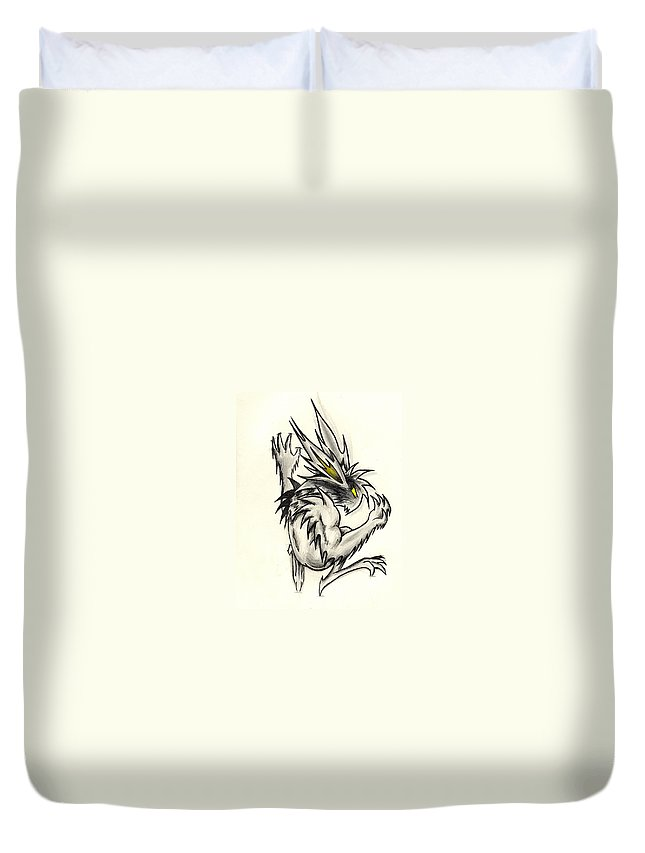 Gargoyle Duvet Cover featuring the drawing The Gargunny by Shawn Dall