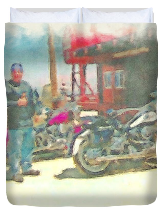 Harley Photographs Duvet Cover featuring the photograph The Lookout by Mayhem Mediums