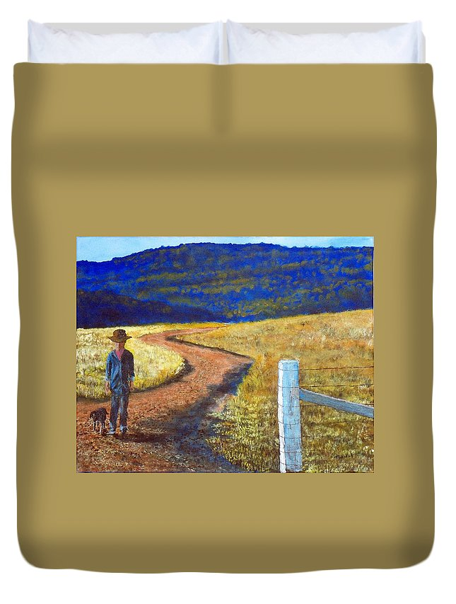 Landscape Boy Dog Country Dirt Road In Field Duvet Cover featuring the painting the Marlboro Kid by William Tremble
