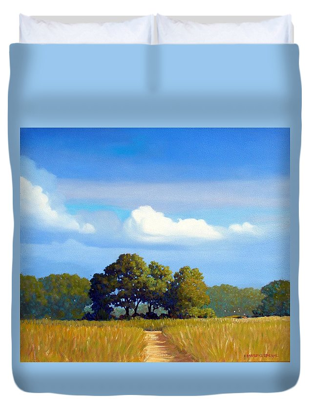 Landscape Duvet Cover featuring the painting The Path by Kevin Lawrence Leveque