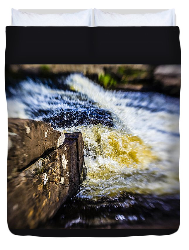 Stream Duvet Cover featuring the photograph The Stream In Mountain by Alex Potemkin