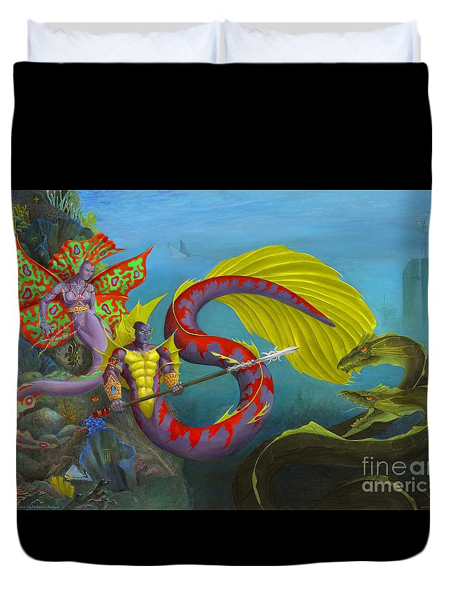 Mermaid Duvet Cover featuring the painting The Threat by Melissa A Benson