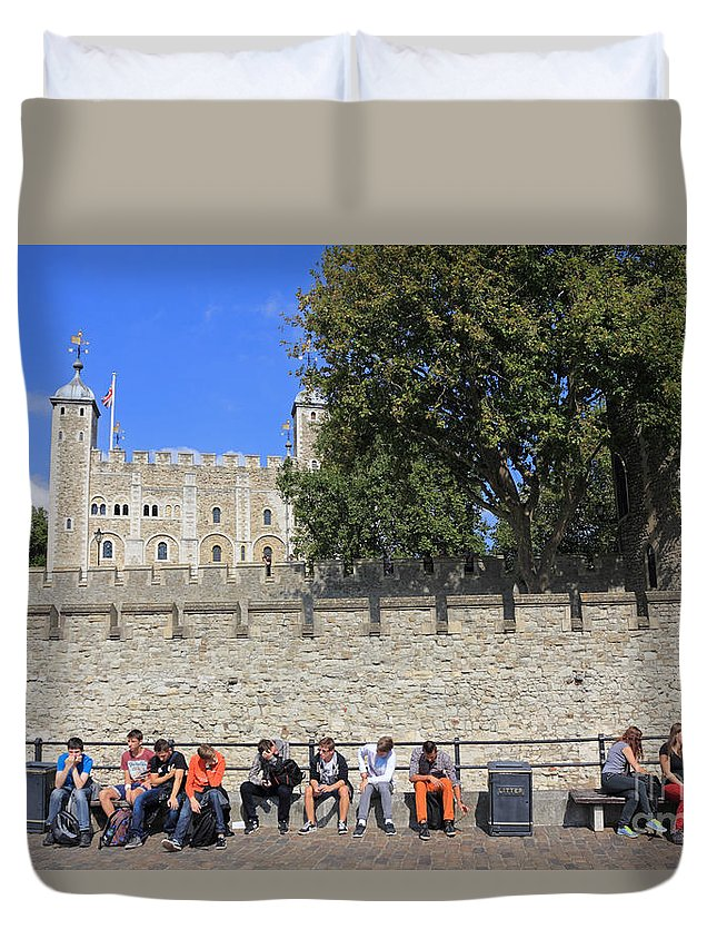 The Tower Of London Duvet Cover featuring the photograph The Tower Of London by Julia Gavin